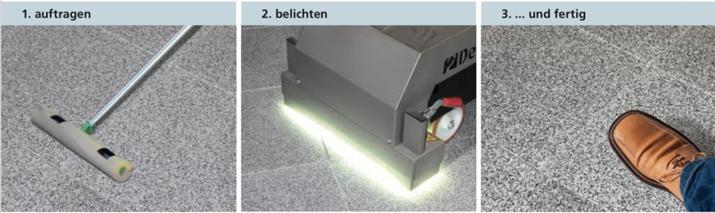 FAST FLOOR / Sofort aushärtende Bodenbeschichtung durch UV-Lackierung