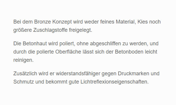 betonhaut polieren aus  Deutschland